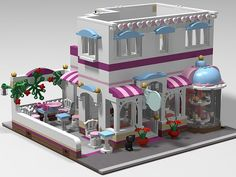 So I& always loved the Front facade and colors of Friends I wanted to work up a modular that maintained a front facing patio, but kept the ba. Legos, Lego Lego, Lego Table Ikea, Lego Candy, Lego Friends Sets, Lego Activities, Lego Blocks, Lego Modular, Lego For Kids