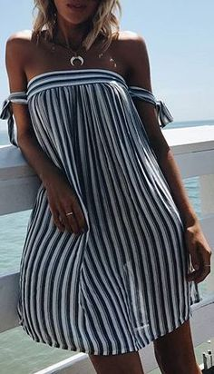 5abc0eec210b Blue and white striped off-shoulder tie dress