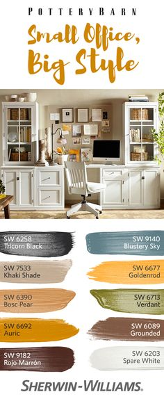 Prepare for productivity in an office that's smart and stylish. @potterybarn's Logan Small Office Suite is the perfect piece for your workspace. Sophisticated in look and versatile in function, the office suite goes well with a complementary palette of neutrals like Khaki Shade SW 7533 and bright pops of color like Goldenrod SW 6677.