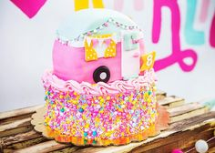 Camper cake from a Colorful Camping Glamping Birthday Party on Kara's Party Ideas | KarasPartyIdeas.com (23)