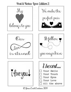 FREE ::Printable Post-it Notes:: Love Edition 2 Follow my blog at JonesCreekCreations.blogspot.com to be the first to know when more are available
