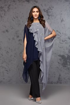 blue and grey chiffon overlapping top with silver and blue motive chatta on grey part By Hiba Asim | jeena.pk