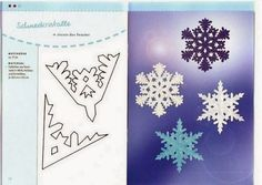 Sweet Home: Paper snowflakes. Paper Snowflake Designs, Paper Snowflake Template, Paper Snowflakes, Paper Stars, Christmas And New Year, All Things Christmas, Christmas Crafts, Art Stuff For Kids, Kirigami Templates