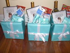 "goodie bags for bridesmaids... Just because it's a Tiffany's box and the gifts are ""Breakfast at Tiffany's"" theme!"