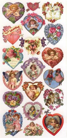 1 Sheet of Stickers Mixed Valentine Hearts My Funny Valentine, Valentine Images, Vintage Valentine Cards, Saint Valentine, Valentine Day Love, Valentine Hearts, Vintage Heart, Vintage Tags, Vintage Labels