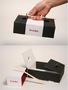 A sushi to-go box that uses chopsticks as the handle. A sushi to-go box that uses chopsticks as the handle.,Graphic design & logos A sushi to-go box that uses chopsticks as the handle. Clever Packaging, Food Packaging Design, Packaging Design Inspiration, Brand Packaging, Coffee Packaging, Food Box Packaging, Chocolate Packaging, Bottle Packaging, Packaging Ideas