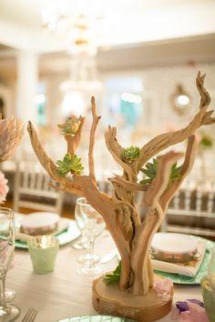 #driftwood, #centerpiece, #succulents  Photography: Judy Pak - judypak.com Florist: Ava Flora - http://www.avaflora.com Reception Venue: The Rams Head In - www.theramsheadinn.com/