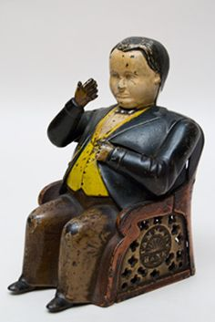 """Tammany Mechanical Bank »    Circa 1873: This mechanical bank portrays crooked New York politician William M. """"Boss"""" Tweed"""