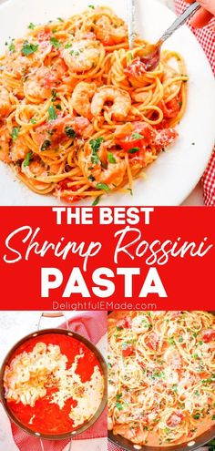 Love Bertucci's Shrimp Rossini Pasta? You can now make it at home with this incredible Shrimp Rose Pasta Sauce. A simple rose sauce with capers, tomatoes, onions and garlic, which pairs perfectly with the tender shrimp and pasta. Even better than the restaurant! || Delightful E Made