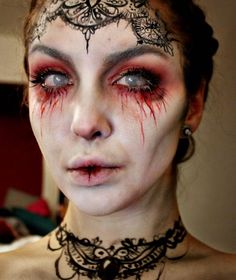 As someone with a problem with anything to do with eye, this really freaks me out! I am loving this look though and I think would e really striking with a horror bride or vampire Halloween costume.