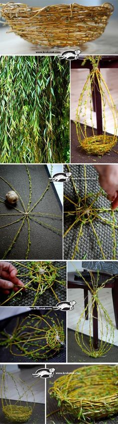 How to Weave a Willow Basket. Looks really easy, and it becomes a real, useable basket when it dries. How neat!: