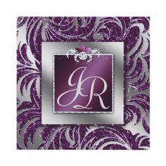 Elegant Wedding Invite Leaf Floral Purple Sparkle by WeddingShop88