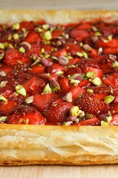 Puff Pastry Strawberry Tart with Pistachios  (Closet Cooking)