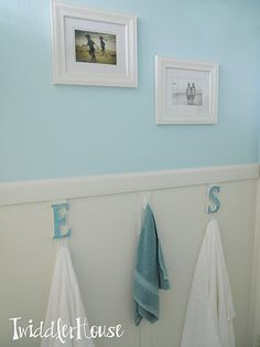 """for the kids/jack and jill bathroom... letter hooks so each kid can have their own hook and not have to have the """"but I wanted THAT hook"""" argument"""