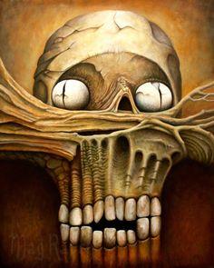 "Head gothic fantasy horror art surrealism skull original oil painting 30 x 24"""