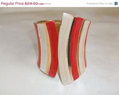 SALE Vintage Retro Mod 1980s Bright Red Ivory by MemawsTopDrawer, $21.60