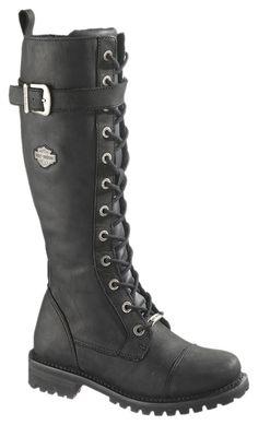 "Harley-Davidson® Womens Savannah 16"" Tall Lace Black High Cut Riding Boot.  I want these!!!"