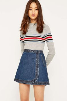 Most methods to choose a denim dress will be dependent your personal trend, though this simplistic posh wardrobe. Long Denim Skirt Outfit, Denim Wrap Skirt, Wrap Skirts, Mini Skirts, Skirt Fashion, Fashion Outfits, Steampunk Fashion, Gothic Fashion, Fashion Fashion