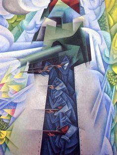 'Armored Train in Action', 1915 by Gino Severini (1883-1966, Italy)