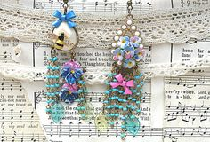 boho gypsy flower fringe earrings assemblage mismatched pansy