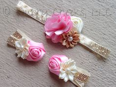Shabby Chic Baby Barefoot Sandals Headband Set - Pink and Gold Piggy Petals - Vintage Chic Headband - purchase individually or as a set Fabric Flower Headbands, Baby Headbands, Handmade Headbands, Baby Girl Hair Accessories, Shabby Chic Baby, Baby Bows, Newborn Bows, Diy Bow, Bare Foot Sandals