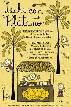Banana and milk Platano con leche Illustration Sketches, Food Illustrations, Chefs, Chilean Recipes, Chilean Food, Food Banner, Latin Food, Lettering Design, Kitchen Recipes