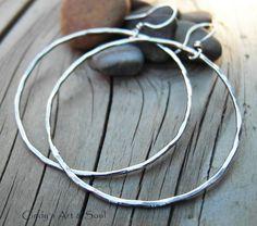Big Silver Hoops. All Silver Hammered Hoop Earrings. Made to Order.