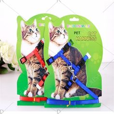 Best Selling 3-COLOR Nylon Products for Cats Cats Harness and Straps Adjustable Pet Towing Harness with Kittens - Blue Mobile