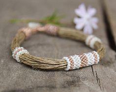 Eco freundliche Leinen Armband Multi Strang natürliche Bio-Schmuck Geschenk Alabaster White Samen Perlen Armband für Frauen 2014 Schmuck trends