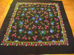 Very beautiful Soviet Wool Black Floral Shawl от RussianshawlMayya