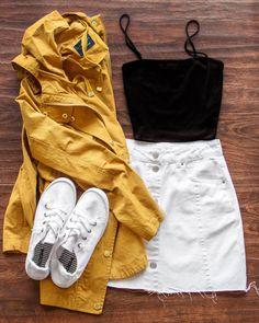 buy white skirt white vans yellow anorak jacket Source by paisleydreamz skirt outfit Teenage Outfits, Teen Fashion Outfits, Mode Outfits, Cute Fashion, Look Fashion, Outfits For Teens, Spring Fashion, Denim Fashion, Spring Ootd