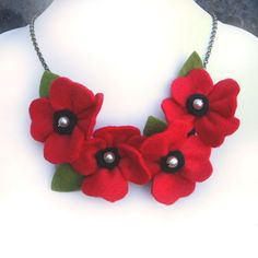 Red Poppy Necklace Poppies and Pearls Flower by CraftyJoDesigns