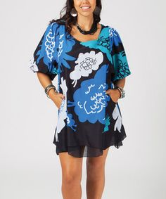 Look what I found on #zulily! Blue & Black Floral Puff-Sleeve Tunic - Plus #zulilyfinds
