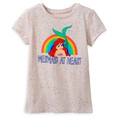 Like Ariel, your princess will always be a ''mermaid at heart'' when wearing this soft, confetti speckled tee with vibrant art and glitter text. Punk Disney Princesses, Ariel Disney, Princess Disney, Disney Girls, Baby Boy Outfits, Cute Outfits, Disney Baby Clothes, Tough Girl, Striped Crop Top