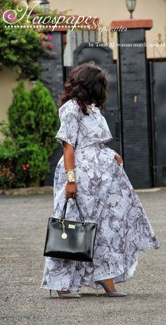 Toun 'AJ': Newspaper Separates by Toun AJ couture African Lace Styles, Latest African Fashion Dresses, African Dresses For Women, African Print Dresses, African Print Fashion, Africa Fashion, African Attire, Ankara Dress Styles, Look Fashion