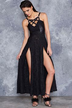 Voodoo Magic Harness Maxi Dress - LIMITED ($250AUD) by BlackMilk Clothing