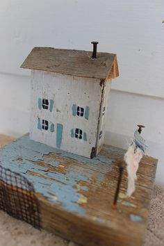Folk art mixed media 3 d little wooden house laundry white and blue sculpture k…