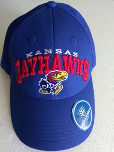 6a5107a96e3 Jayhawks Kansas Uni NCAA Top of the World TOW cap Mascot Blue Spellout  Snapback  TopoftheWorld