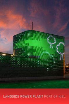 📌🔴🔵🚤 LANDSIDE POWER PLANT - PORT OF KIEL #portofkiel #xled #mediafacade #led #dots #kiel #colours #carlstahl #architecture #design #media #fassade #farben #lightdesign