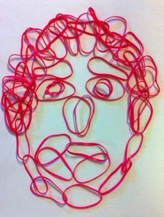 Portrætter med elastikker lavet af 3. årgang