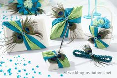 A1weddinginvitations: Peacock Wedding Theme Popular for Bride's Blue Green Wedding Colors