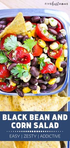 This simple Black Bean and Corn Salad is the best! A bowl of this healthy and delicious goodness features a contrast of summer flavors and textures. Tossed in a garlicky, lime-infused dressing, this easy menu idea is addictive when served as a side salad or with chips! Vegetarian Salad Recipes, Easy Salad Recipes, Yummy Recipes, Healthy Appetizers, Appetizer Recipes, Healthy Dips, Party Appetizers, Heart Healthy Recipes, Real Food Recipes