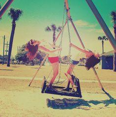 best friends, friends, fun, girls , shorts, smile - inspiring picture on Favim.com