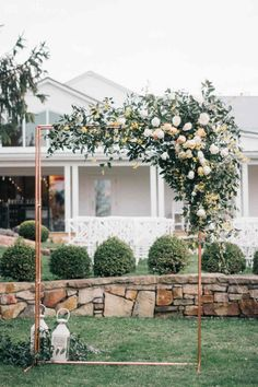 Greenery Wedding Arbour with Copper Piping, Copper Wedding Arch, Modern Greenery Wedding Arch