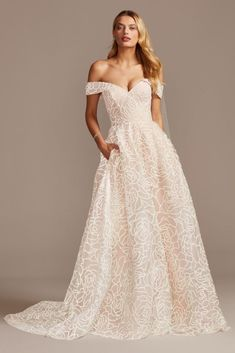 Popular Wedding Dresses, Wedding Dress Styles, Dream Wedding Dresses, Bridal Dresses, Wedding Gowns, Davids Bridal Gowns, Floral Wedding Gown, Peacock Wedding, Wedding Dress Necklines