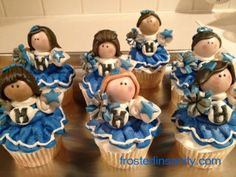 Cute Cheer theme cupcakes! Maybe for next year's cheer party.