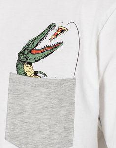 Crocodile pocket print T-shirt - T-shirts - Clothing - Man - PULL&BEAR United Kingdom