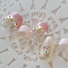 2色ピンク/ラメ/ストーン/シンプル/フレンチ/スタッズ/簡単ネイルチップ/短いネイル/付け爪/S38