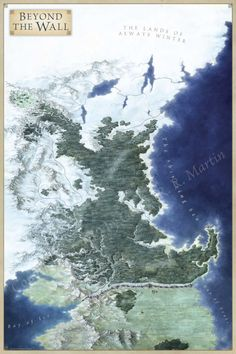 The Lands Beyond the Wall for George RR Martin's Lands of Ice and Fire, mapping the lands of the Free People including the Skirling Pass, Craster's Keep and the castles from Castle Black to Eastwatch by the Sea