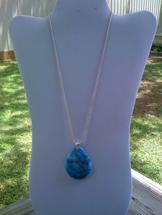 tear drop turquoise pendant w/snake skin by BrightStarrCreations, $22.00